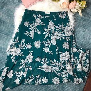 Loft Teal & White Floral Maxi Skirt Size 10